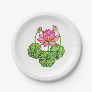 Watercolor Pink Lotus with Buds & Leaves Paper Plate