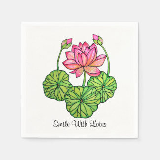 Watercolor Pink Lotus with Buds & Leaves Paper Serviettes