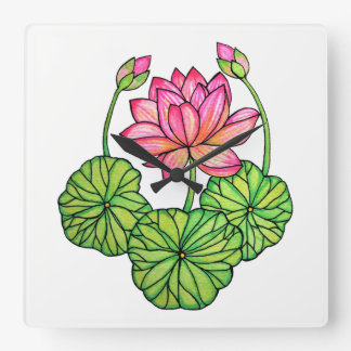 Watercolor Pink Lotus with Buds & Leaves Square Wall Clock