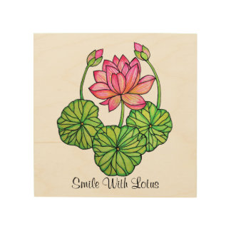 Watercolor Pink Lotus with Buds & Leaves Wood Wall Art