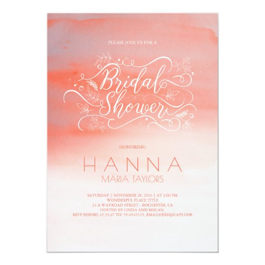 Watercolor Pink Modern Typography Bridal Shower Card