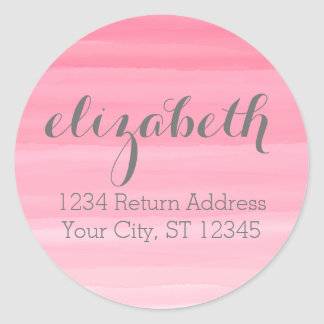 Watercolor Pink Ombre Feminine Office Suite Round Sticker
