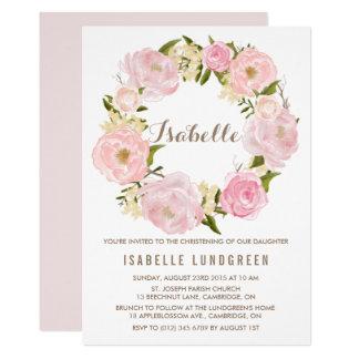 Watercolor Pink Peonies Wreath Christening Card