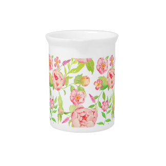 Watercolor pink peony pattern beverage pitcher
