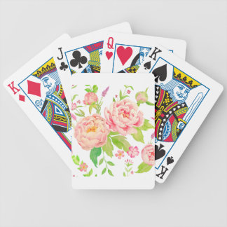 Watercolor pink peony pattern bicycle playing cards