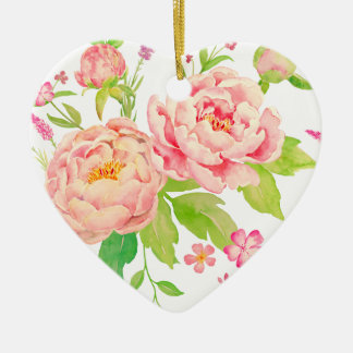 Watercolor pink peony pattern ceramic heart decoration