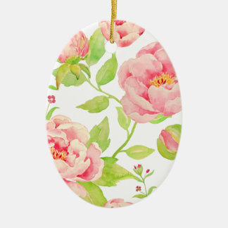Watercolor pink peony pattern ceramic oval decoration