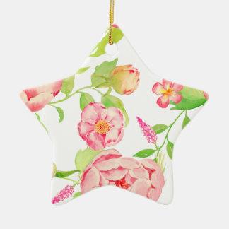 Watercolor pink peony pattern ceramic star decoration