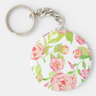 Watercolor pink peony pattern key ring