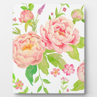 Watercolor pink peony pattern plaque
