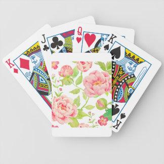 Watercolor pink peony pattern poker deck