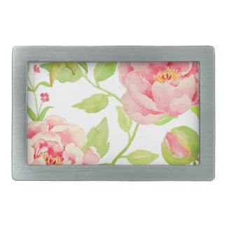 Watercolor pink peony pattern rectangular belt buckle