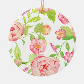 Watercolor pink peony pattern round ceramic decoration