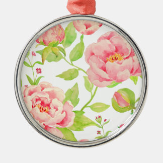Watercolor pink peony pattern Silver-Colored round decoration
