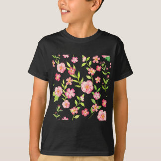 Watercolor pink peony pattern T-Shirt