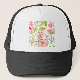 Watercolor pink peony pattern trucker hat