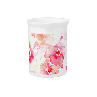 Watercolor Pink Poppies Beverage Pitcher