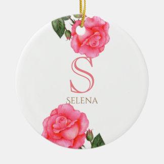 Watercolor Pink Rose Botanical Floral Art Monogram Christmas Ornament