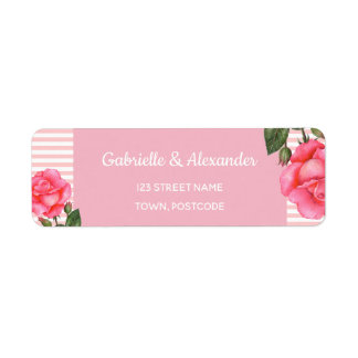 Watercolor Pink Rose Botanical Floral Art Wedding
