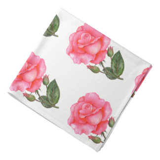 Watercolor Pink Rose Botanical Floral Illustration Bandana