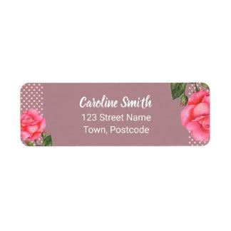 Watercolor Pink Rose Botanical Floral Polka Dot