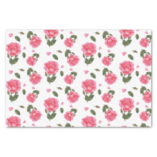 Watercolor Pink Rose Botanical Illustration Tissue Paper