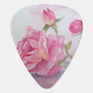 Watercolor pink Rose Guitar Pick