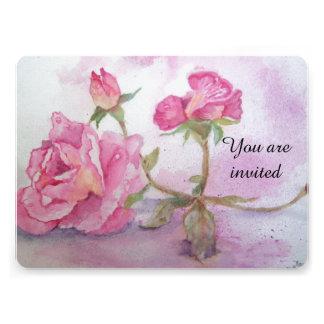 Watercolor pink Rose Invitations