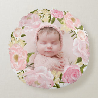 Watercolor Pink Roses and Peonies Wreath Nursery Round Cushion
