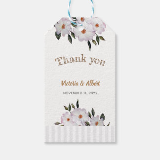 Watercolor Pink Roses Ballerina Wedding Favour Tag