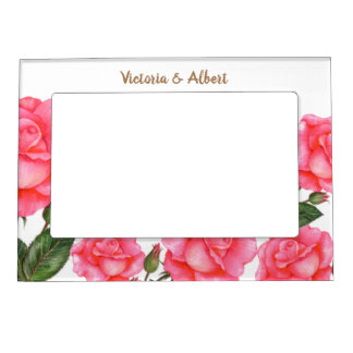 Watercolor Pink Roses Botanical Illustration Magnetic Picture Frame