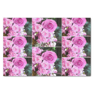 Watercolor Pink Roses Carnations Baby Breath Tissue Paper