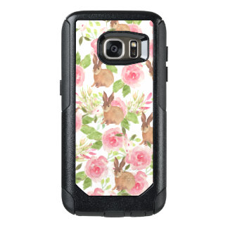 Watercolor pink roses floral brown bunny rabbit OtterBox samsung galaxy s7 case