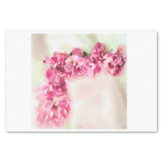 Watercolor Pink Roses for Corner Decoupage Tissue Paper