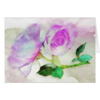 Watercolor Pink Roses Note Card