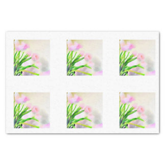 Watercolor Pink Tulip Tiles for Decoupage Tissue Paper
