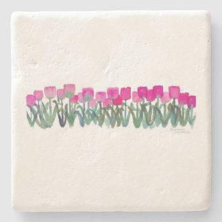 Watercolor Pink Tulips Coaster Stone Coaster