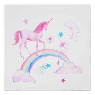 Watercolor Pink Unicorn and Rainbow Poster