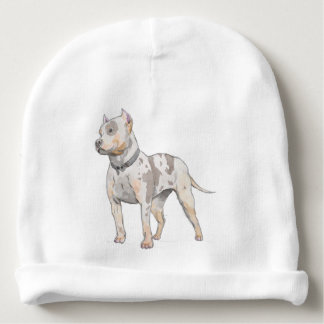 Watercolor Pit Bull Dog Baby Beanie