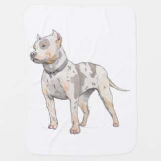 Watercolor Pit Bull Dog Buggy Blanket