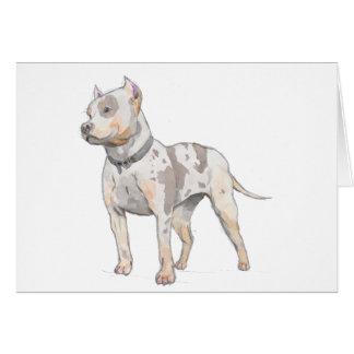 Watercolor Pit Bull Dog Greeting Card