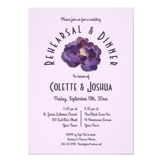Watercolor Plum Floral Rehearsal Dinner Invitation
