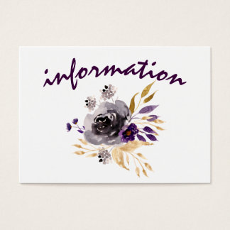 Watercolor Plum Purple Floral information cards