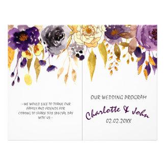 Watercolor Plum Purple Floral Wedding programs Flyer
