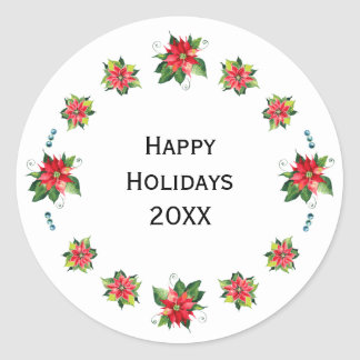 Watercolor Poinsettia - Holiday Circle Sticker