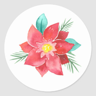 Watercolor Poinsettia Holiday Stickers