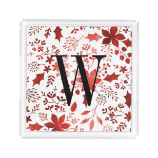 Watercolor Poinsettia Monogram Christmas Acrylic Tray