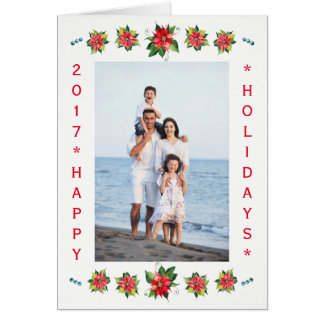 Watercolor Poinsettia-Vertical Holiday Folded Card