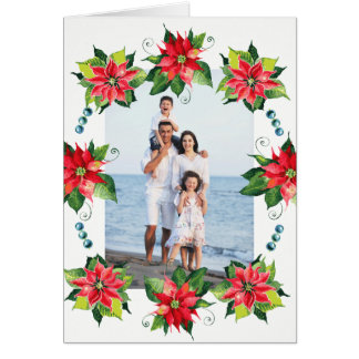 Watercolor Poinsettia Wreath - Holiday Folded Card