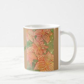 Watercolor Poinsettias and Beads on Christmas Tree Coffee Mug